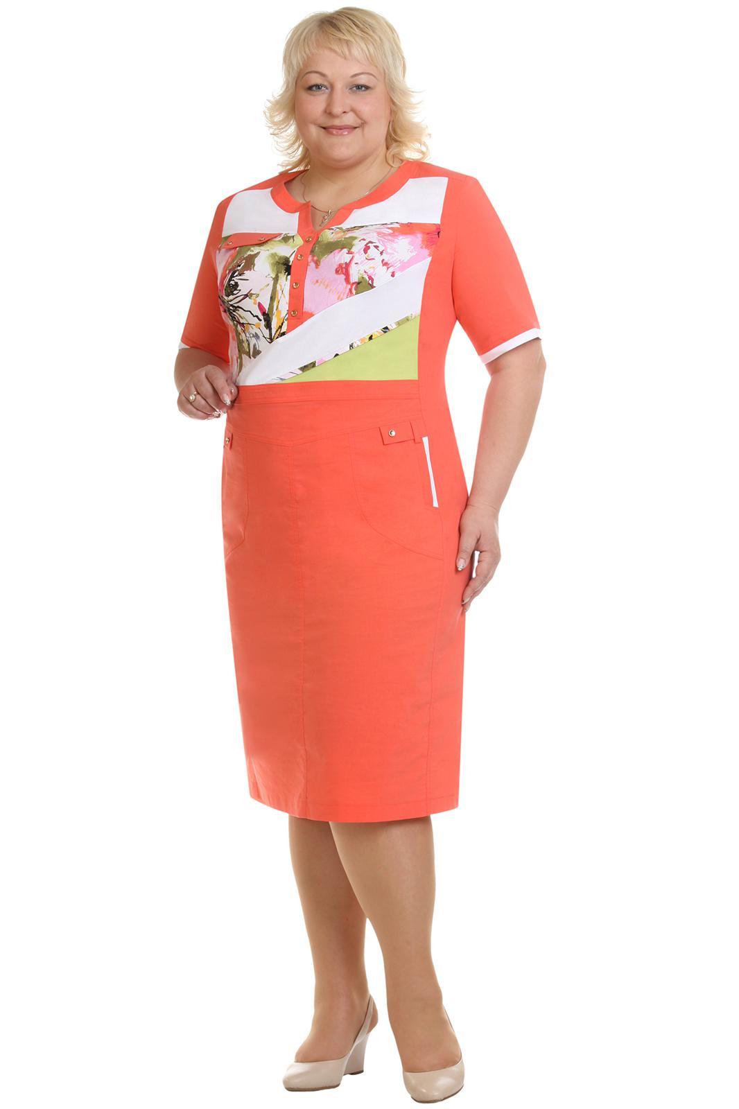 Купить Платье Линия-Л, 1232 коралл, Беларусь
