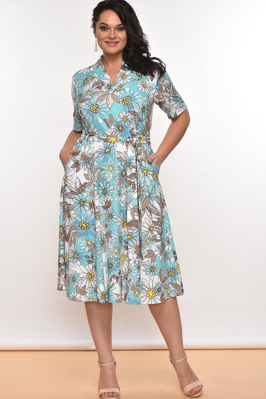 Купить Платье Lady Style Classic, 1533 Мятный+зеленый+цветы, Беларусь
