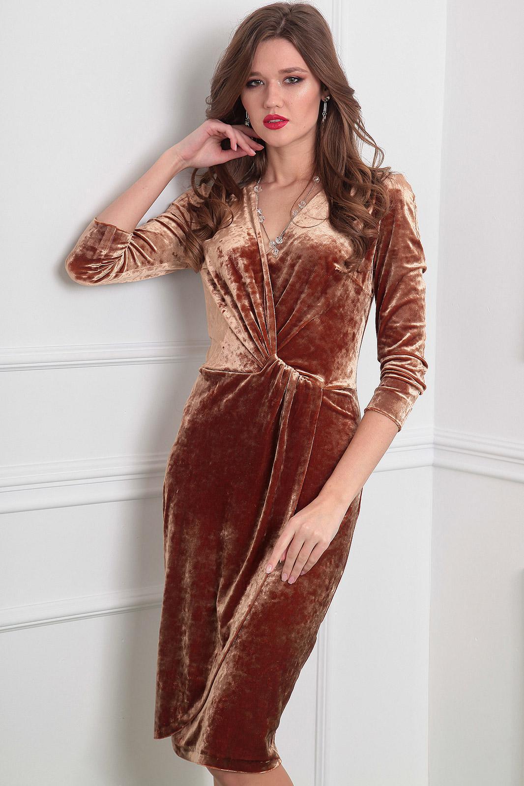 Купить Платье Мода-Юрс, 2320 золотисто-коричневый, Беларусь