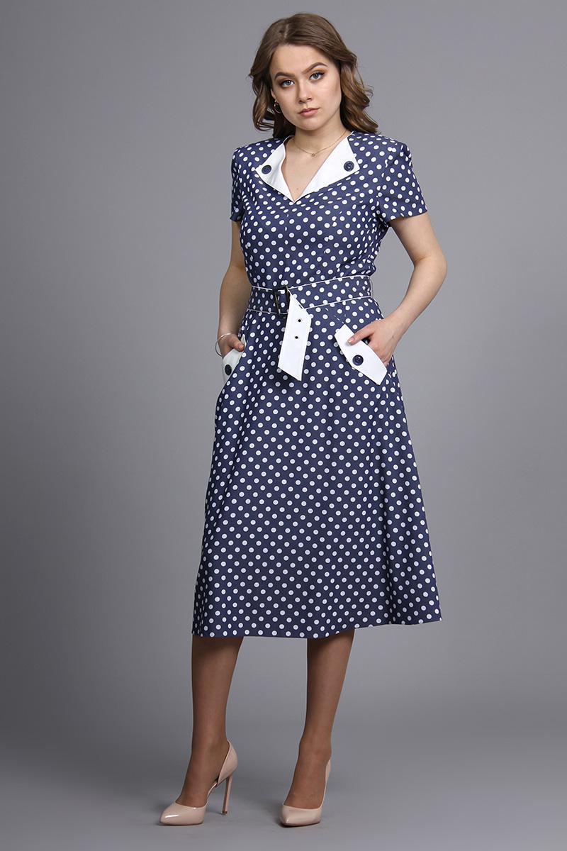 Купить Платье Fantazia Mod, 2940 синий в горохи, Беларусь