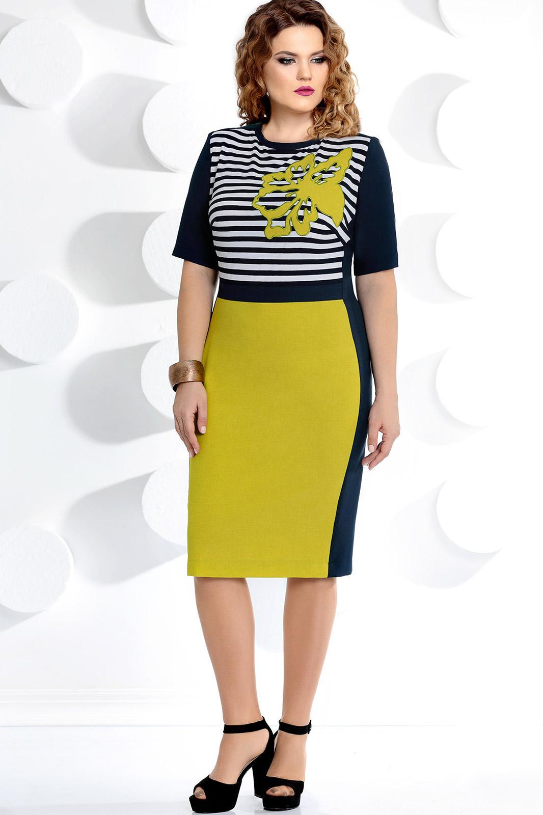 Купить Платье Мублиз, 214 синий+ горчица, Беларусь