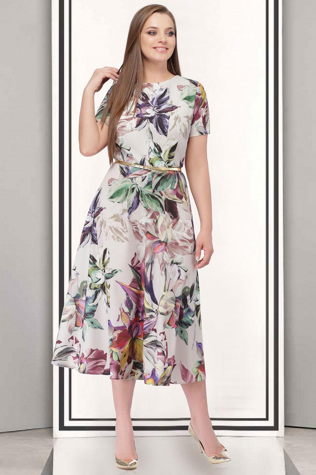 Купить Платье Таиер, 527 цветы на белом, Беларусь