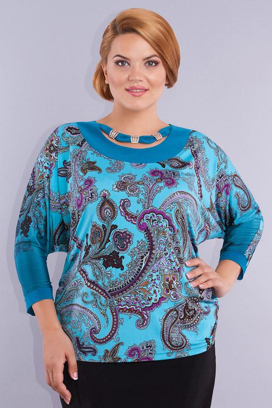 Блузка Дали, 232 бирюзовый с горловиной фото 3, Беларусь  - купить со скидкой