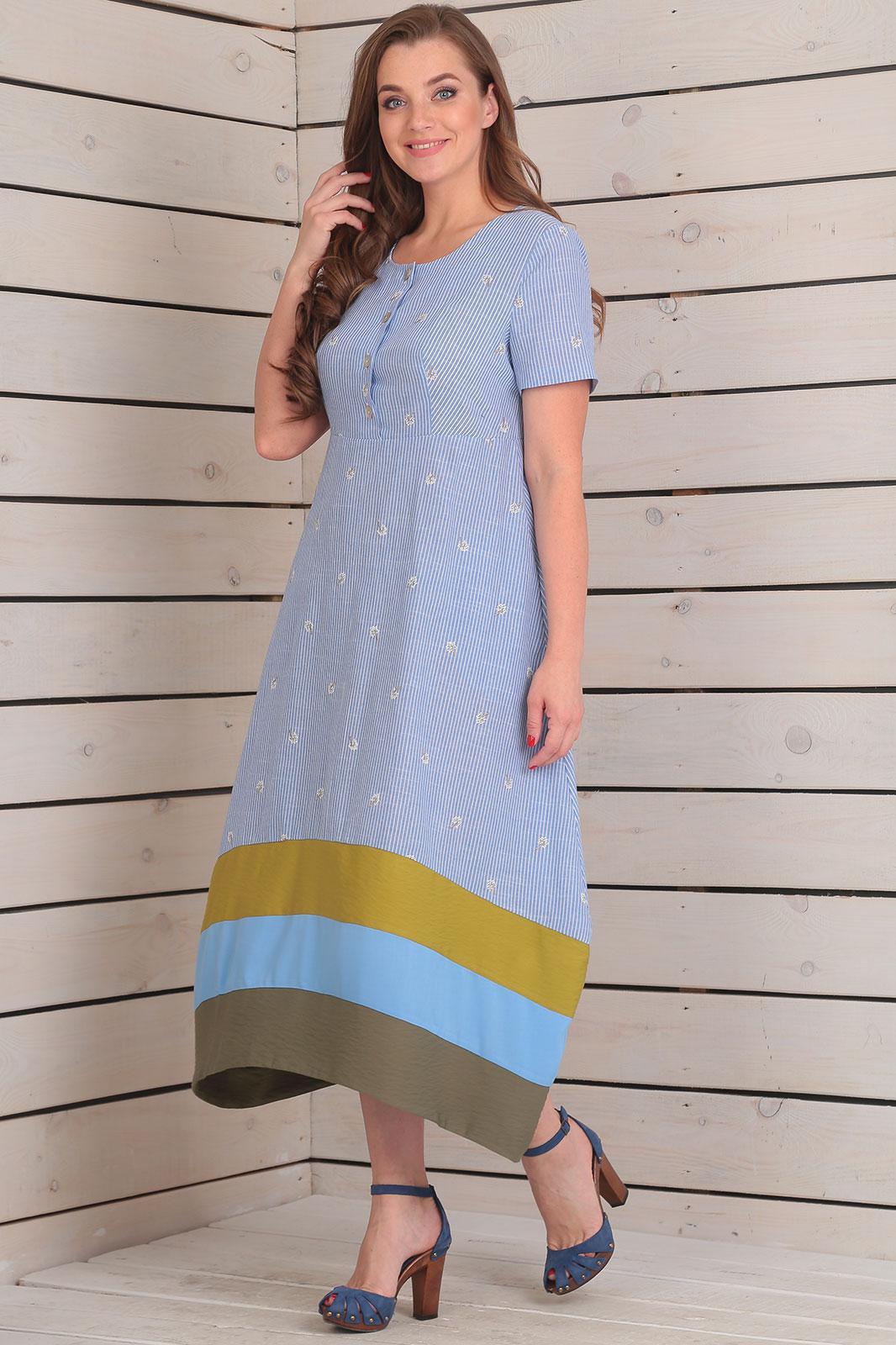 Купить Платье Rishelie, 659 синий с горчицей, Беларусь