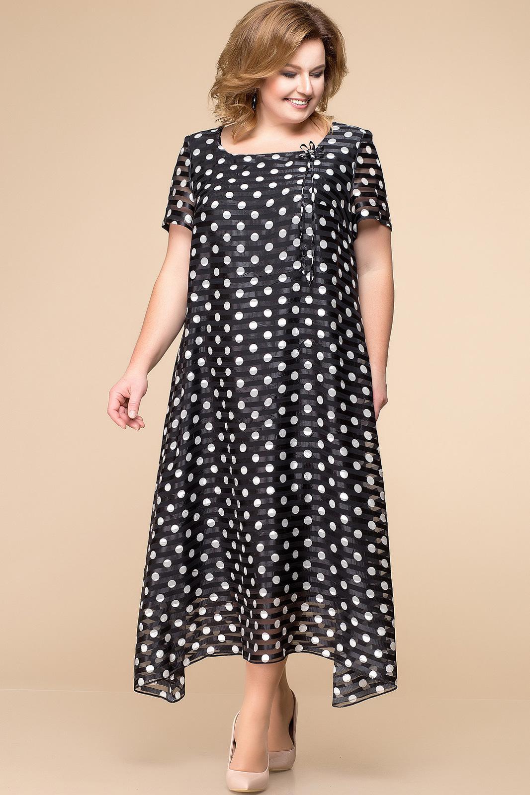 Купить Платье Romanovich, 1-1332 чёрно-белый, горохи, Беларусь
