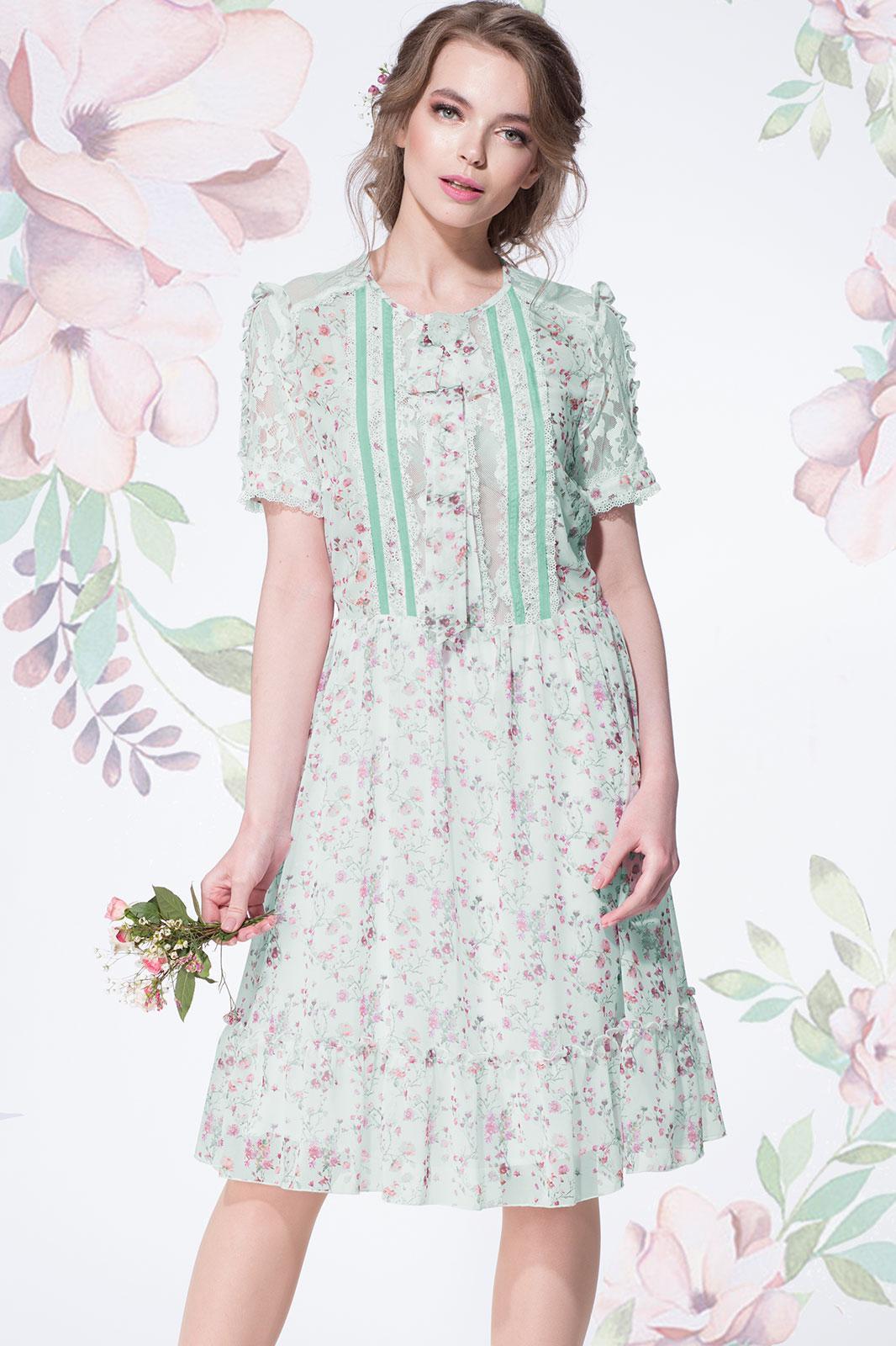 Купить Платье Lenata, 11892 цветочки на мятном фоне, Беларусь