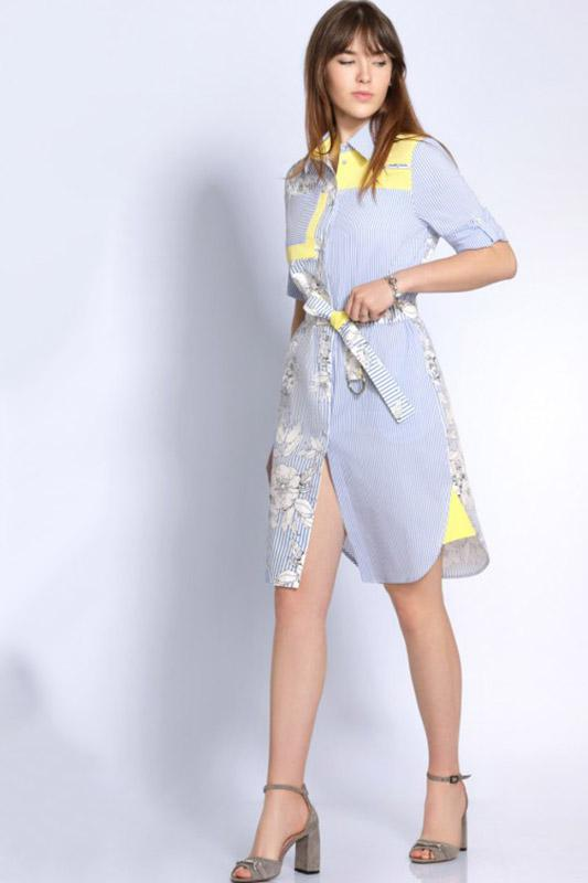Купить Платье Джерси, 1697 голубой + желтый, Беларусь