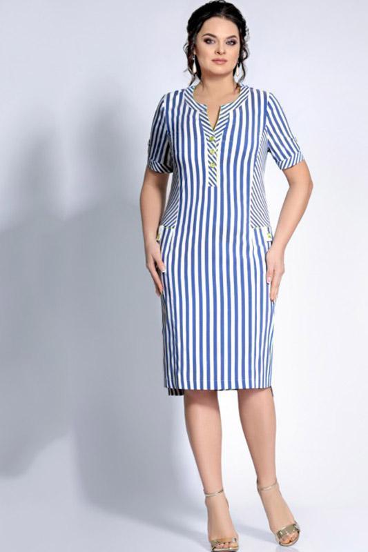 Купить Платье Джерси, 1670 белый с синим, Беларусь