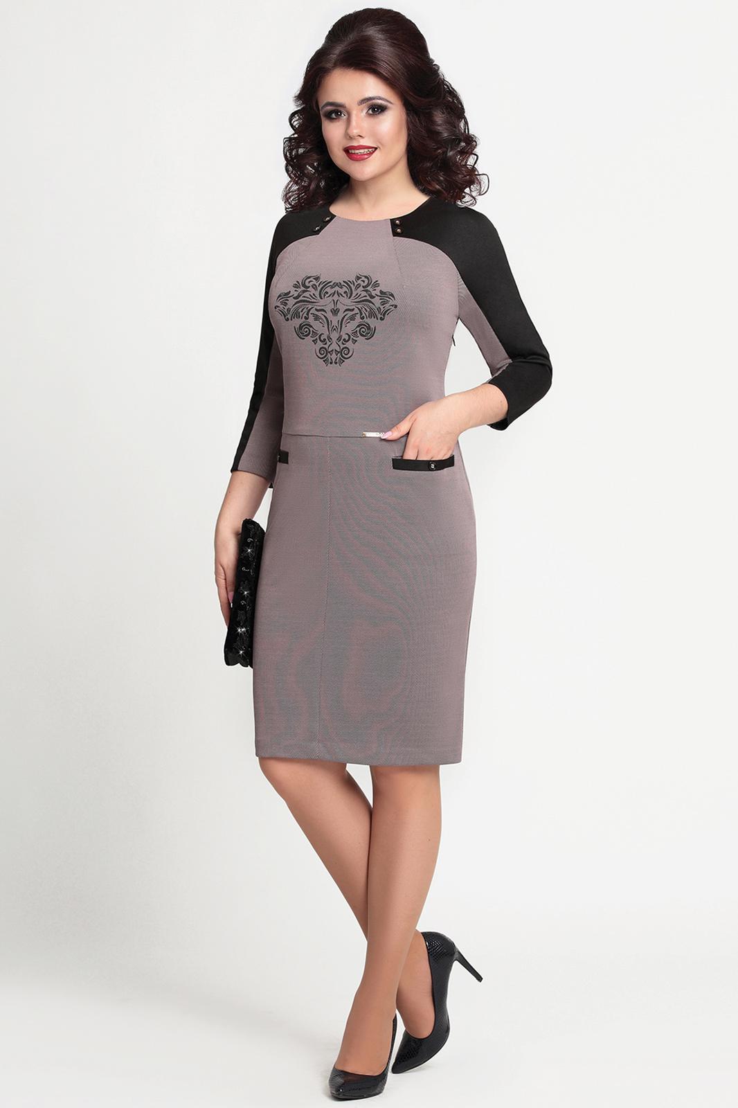 Купить Платье Mira Fashion, 4096 меланж серо-розовый с чёрным, Беларусь