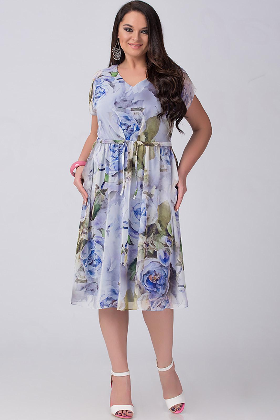 Купить Платье Erika Style, 661 голубой в цветы, Беларусь