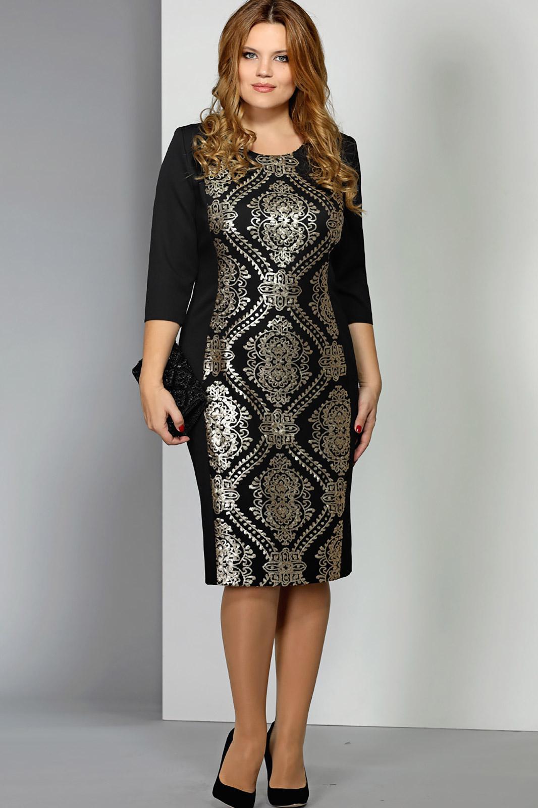 Платье черное с золотом с доставкой