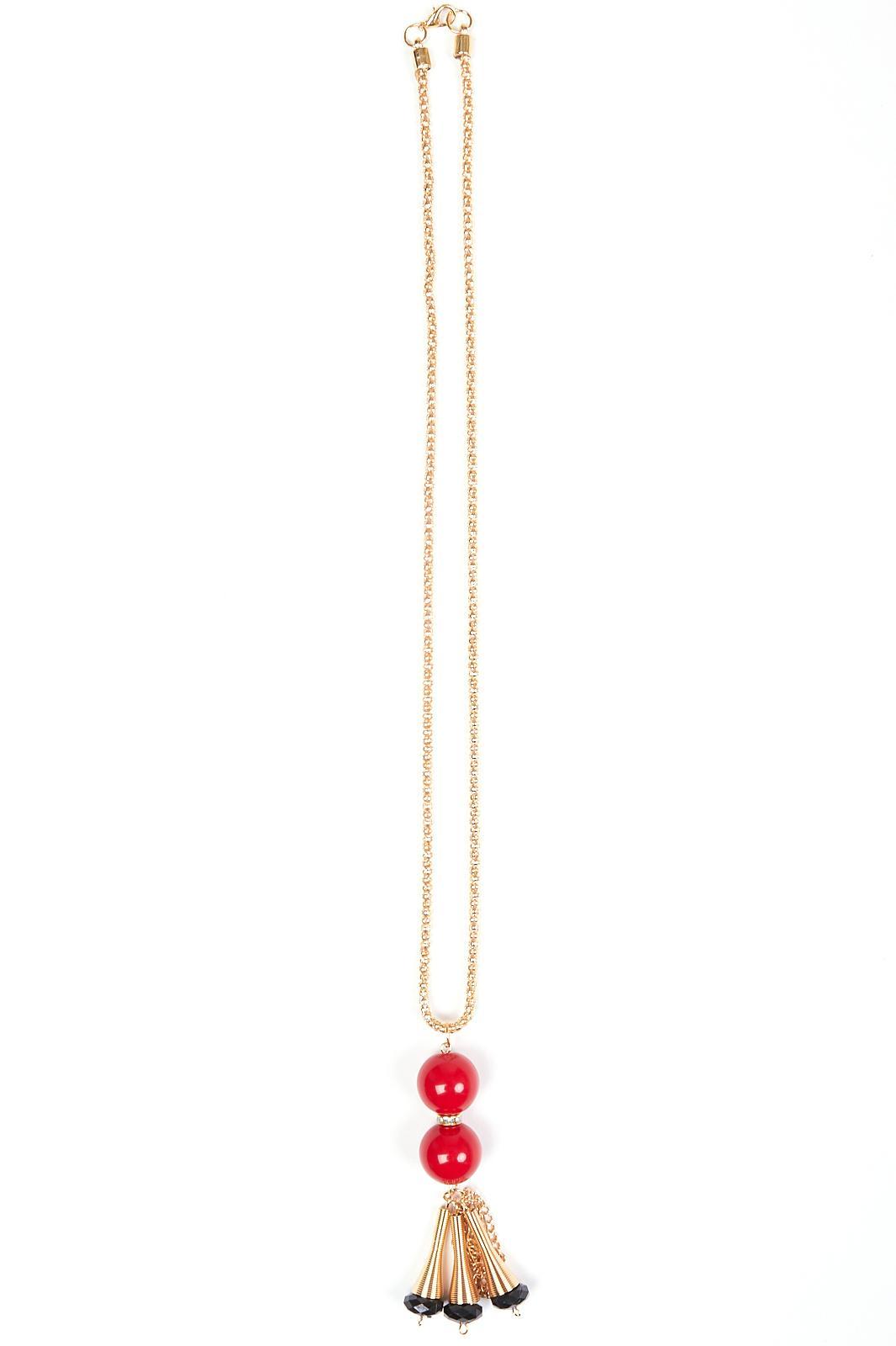 Купить Подвеска Fashion Jewelry, Красные шарики золотистый, Китай