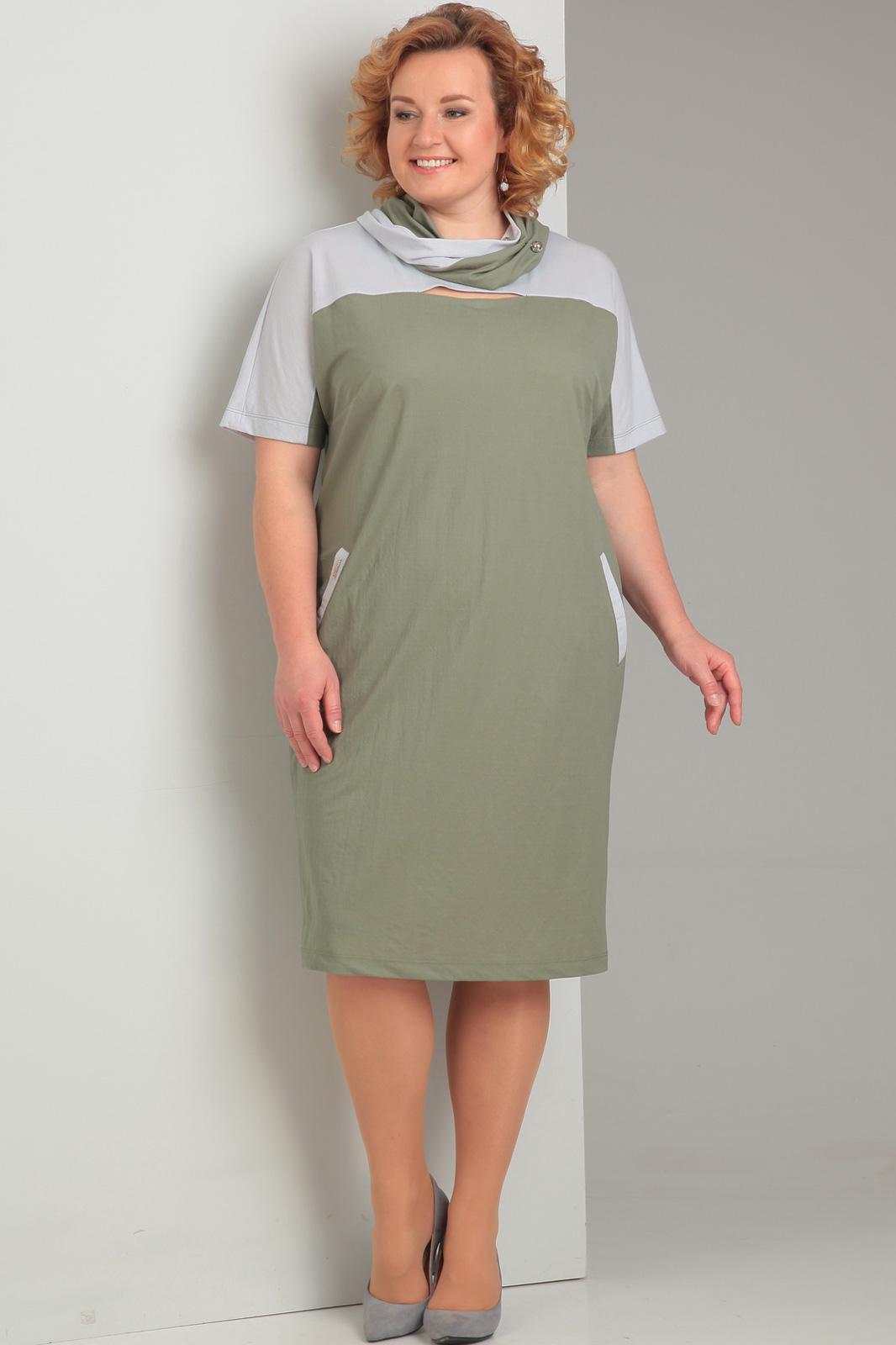 Платье Диамант, 1304 хаки, белый, Беларусь  - купить со скидкой