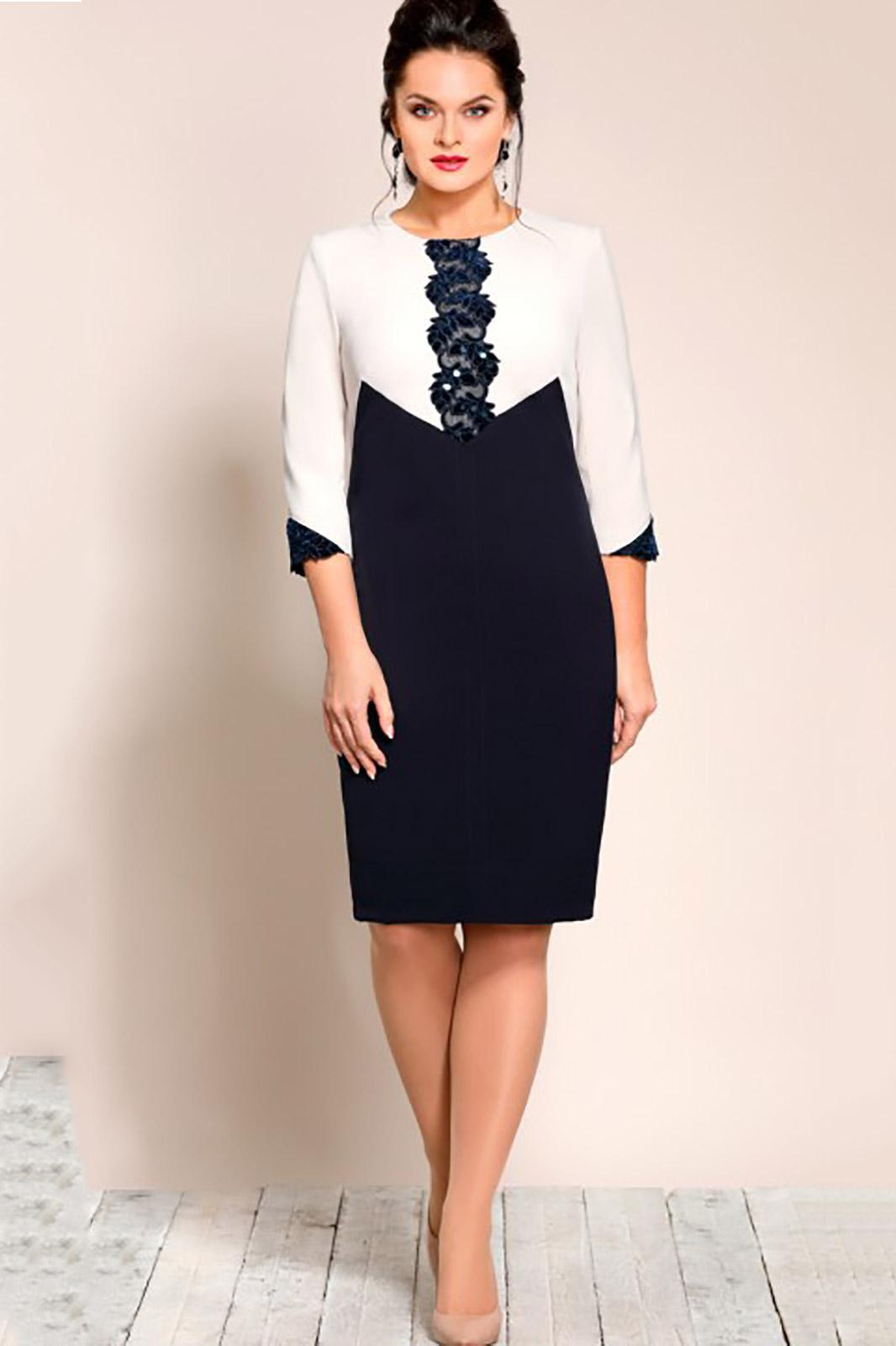 Купить Платье Джерси, 182 синий с молочным, Беларусь