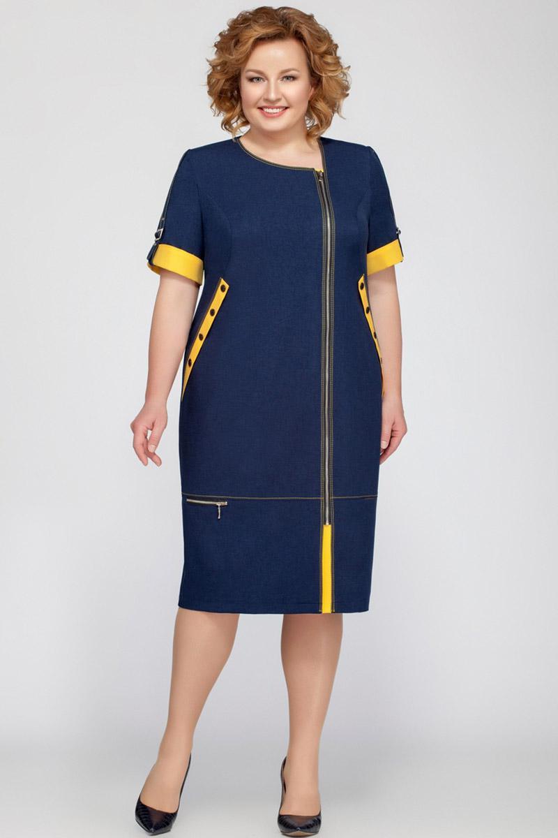 Купить Платье Теллура-Л, 1201-1 темно-синий+горчица, Беларусь