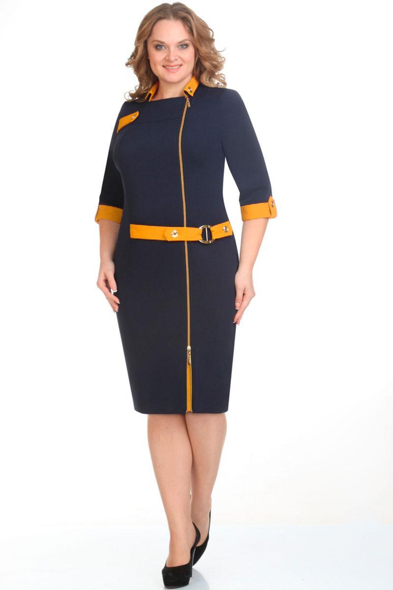 Купить Платье Elga, 01-571 синий+горчица, Беларусь