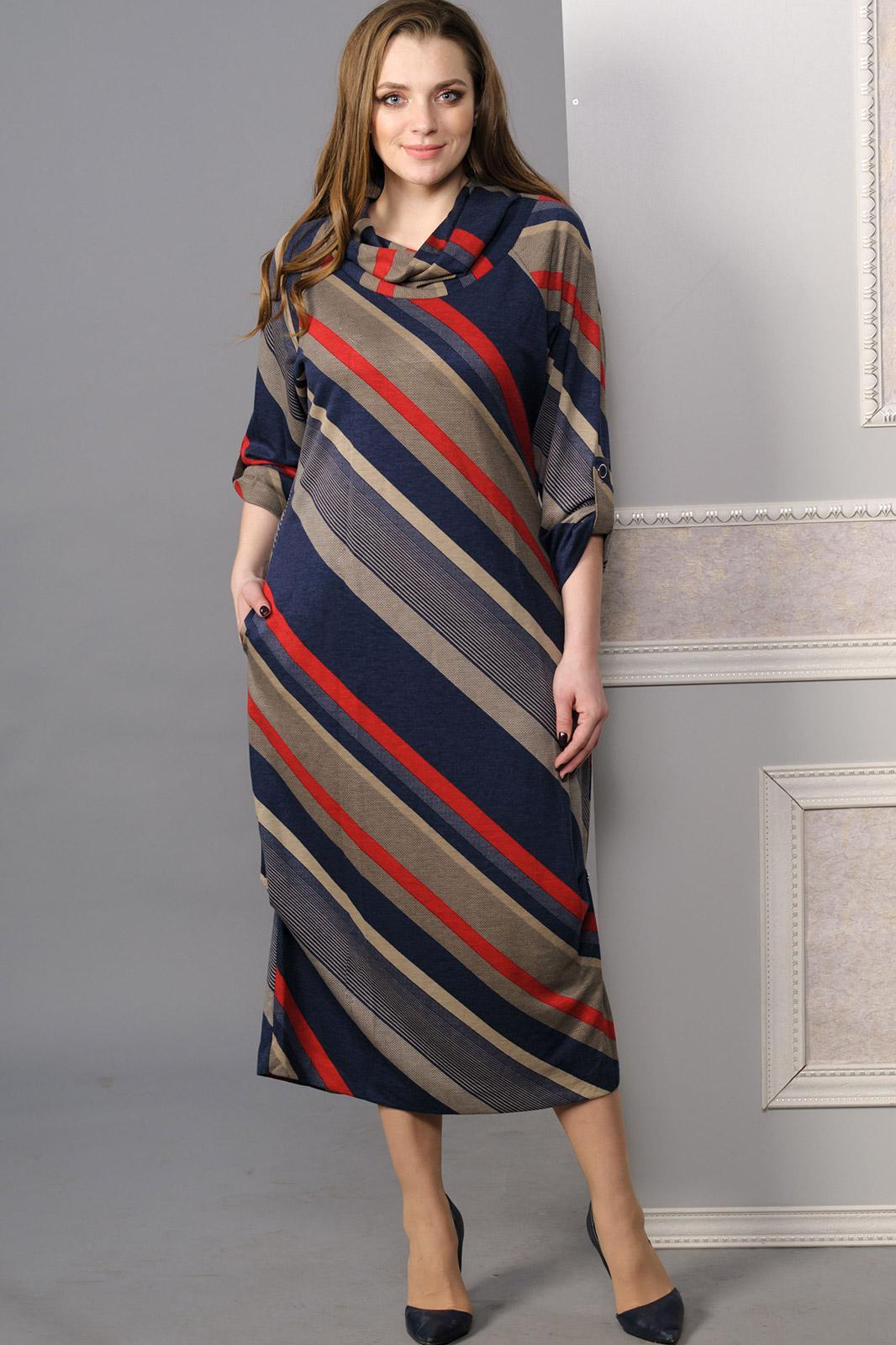 Купить Платье Lady Style Classic, 1233 синий с бордо, Беларусь