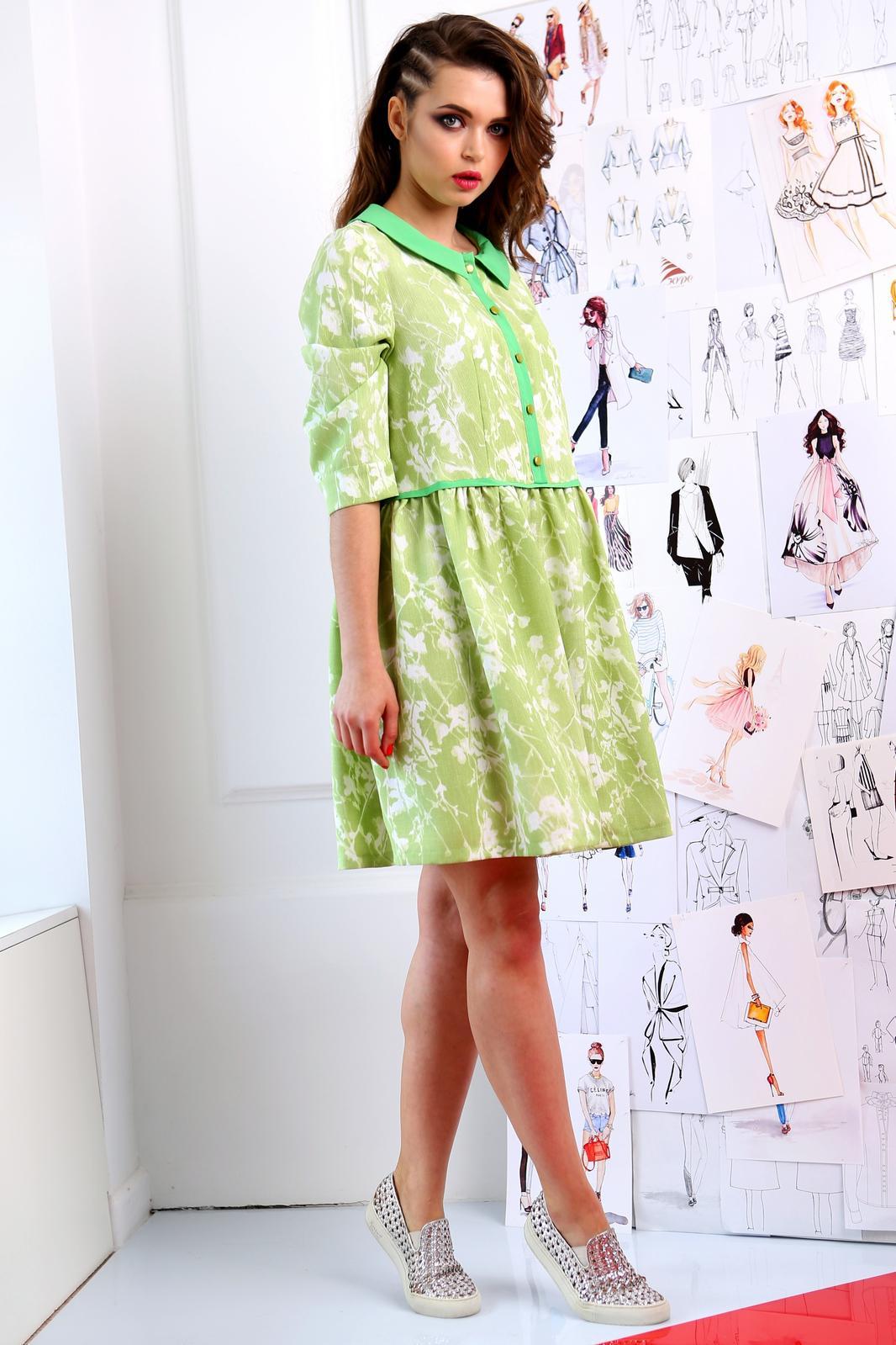 Купить Платье Юрс, 17-684з зеленый с белым, Беларусь