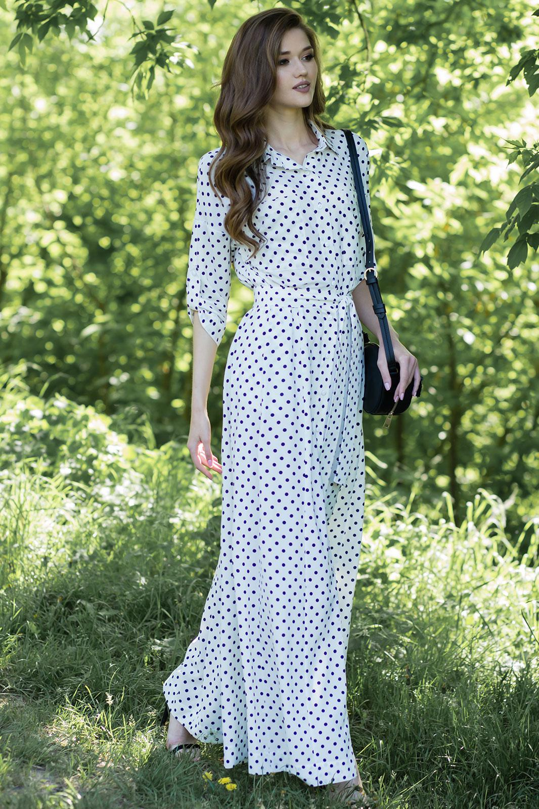 Купить Платье Juanta, 2530 горохи белый+синий, Беларусь
