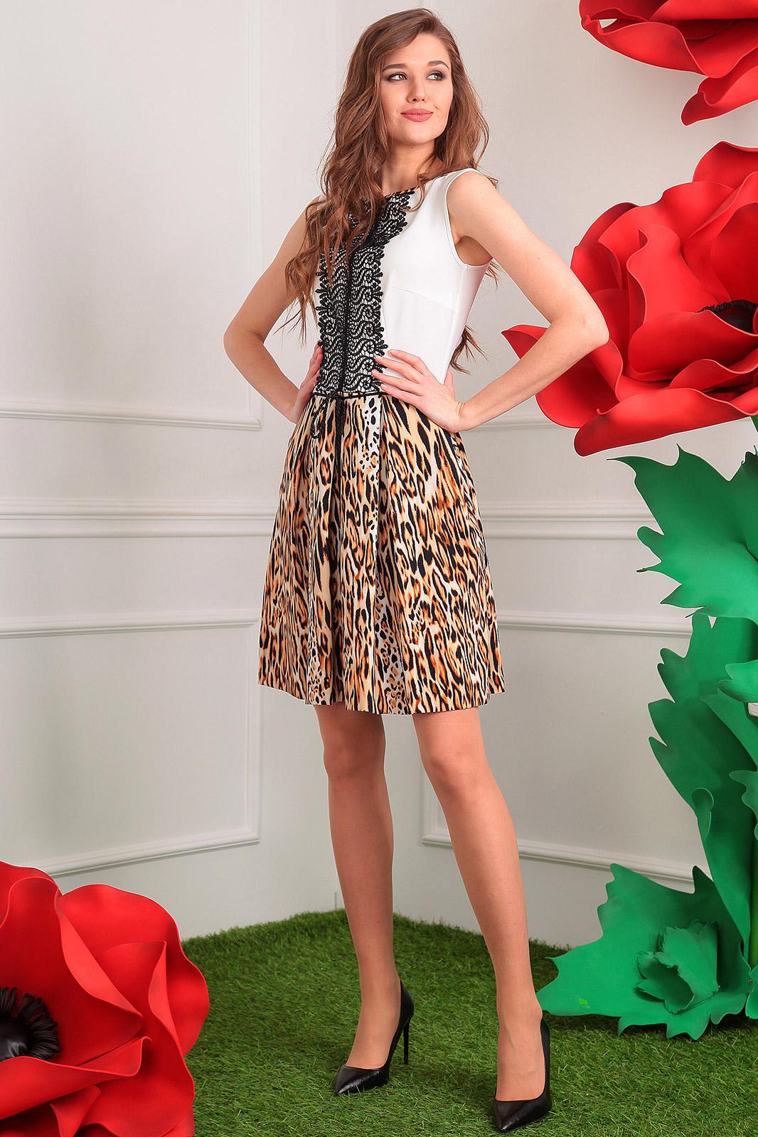Купить Платье Мода-Юрс, 2326 молочный+леопард, Беларусь