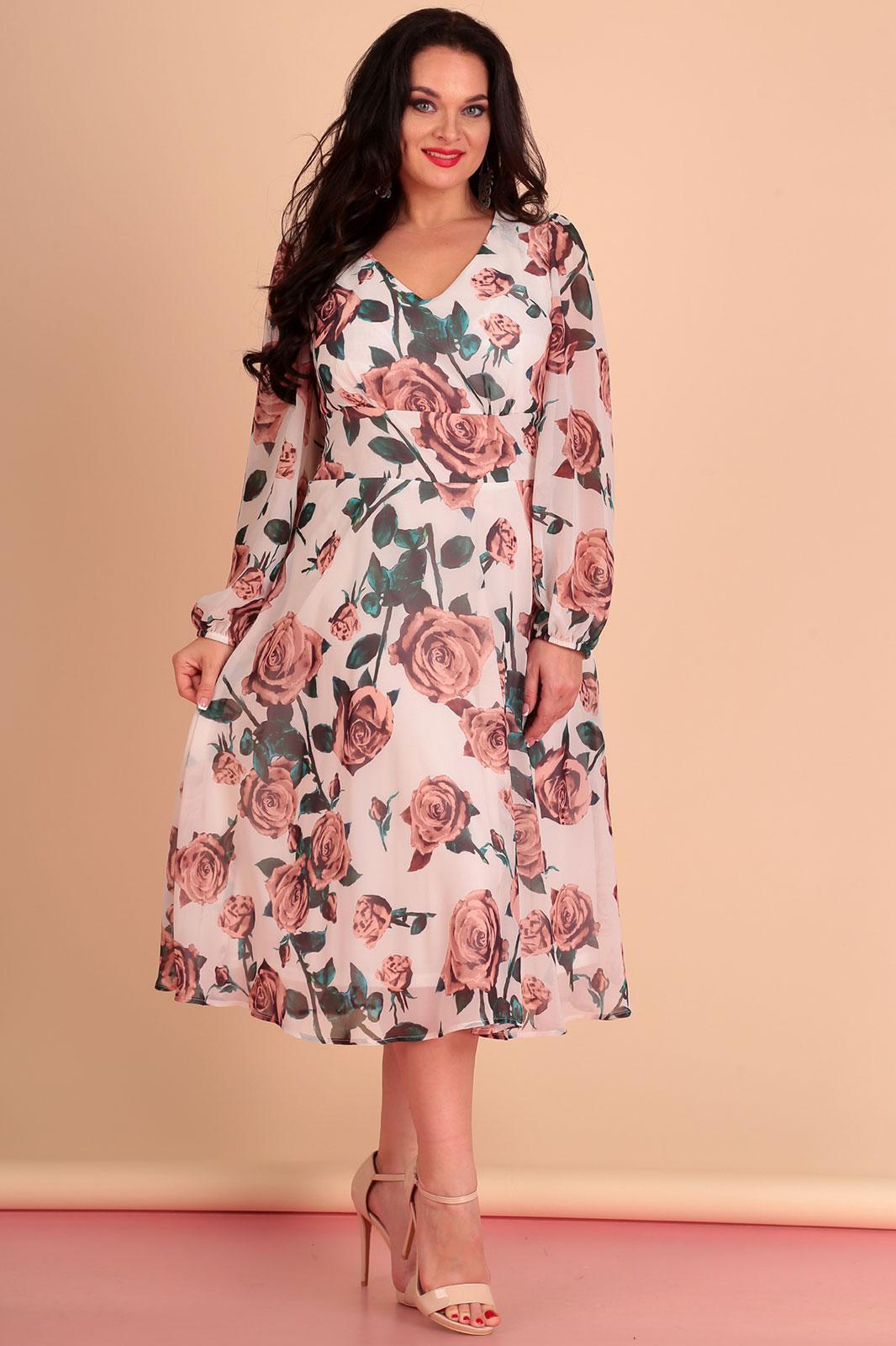 Купить Платье Лиона-Стиль, 642 цветы на белом, Беларусь