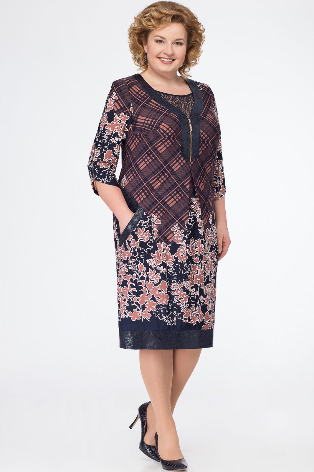 Купить Платье Белэкспози, 732-2 сине-терракотовый, Беларусь