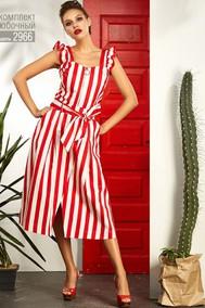 Модель 2966 белый в красную полоску Niv Niv Fashion