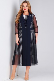 Модель 788 синее в полоску платье+синяя накидка Милора-стиль