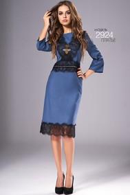 Модель 2924 синий  с черным кружевом Niv Niv Fashion