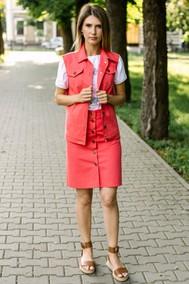 Модель 239 Розовый/коралловый, футболка – белый с принтом Marika