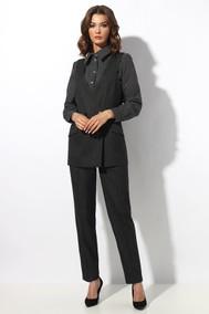 Модель 1191-7 черный в белый горошек+темно-серый МиА Мода