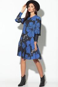 Модель 826 черный+синие цветы Кокетка и К