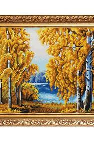 Рисунок на ткани   Янтарный лес ( Бисер)
