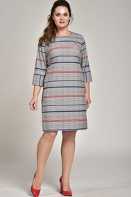 Модель 1377 Серый в клетку,синие и красные полоски Lady Style Classic