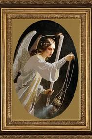 Рисунок на ткани Бисер Ангел со свечей