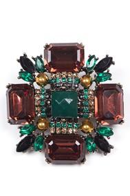 Модель Брошь 97073 зеленый+коричневый Fashion Jewelry