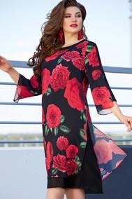 Модель 11863 черный + красный (цветочный принт) VITTORIA QUEEN
