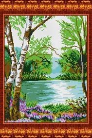 Канва с нанесенным рисунком У реки