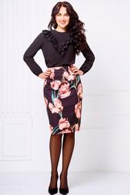 Модель 090 черный+розовые тюльпаны Swallow