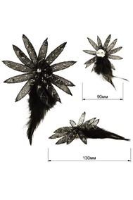 Модель 62138 цветок+перья черный Sergio Stefano