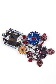 Модель Брошь 97074 серебристый с цветным Fashion Jewelry
