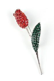 Модель Роза 62321 Красный+ зеленый+серебро Fashion Jewelry