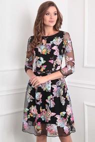 Модель 13351  черный+розовые цветы Sandyna