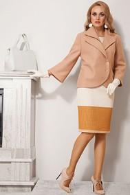 Модель 1056 Бежевое пальто+ горчично-бежевое платье Diva