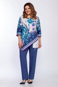 Модель 1233 синий под джинс с белым LaKona