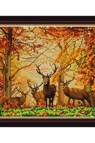 Рисунок на ткани   В лесу ( Бисер)