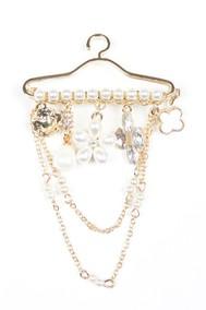 Модель Брошь 97068 золото+белый Fashion Jewelry