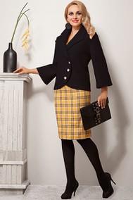 Модель 1070 черное пальто+платье в клетку Diva