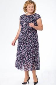 Модель 1369 тёмно-синий с розовыми цветами Кэтисбел
