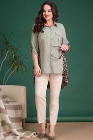 Модель 716В хаки+бежевые брюки Лилиана
